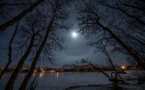 moon shining   lake hd desktop wallpaper widescreen