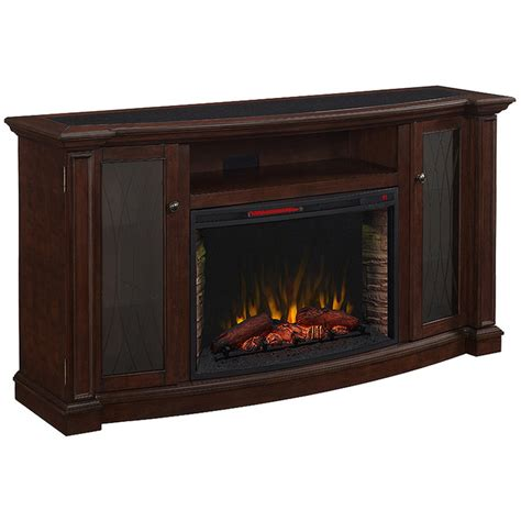 lowes electric fireplace shop 72 in w 5 200 btu cherry wood infrared quartz