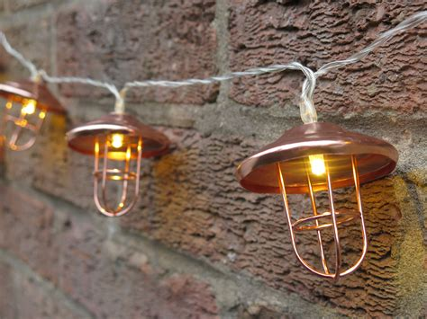 copper lantern string lights lavender and leeks