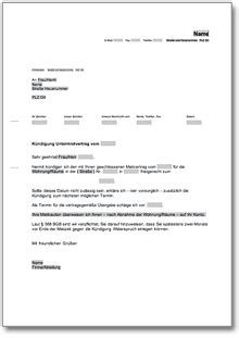 kündigung untermietvertrag muster k 252 ndigung untermietvertrag fristgem 228 223 untervermieter de musterbrief