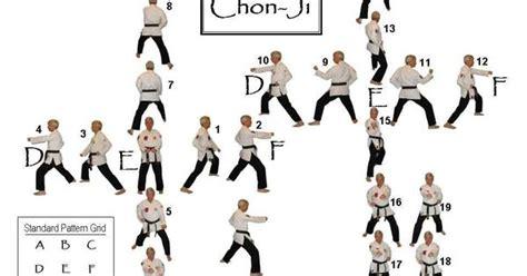 taekwondo white yellow belt form chon ji  movements