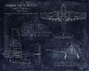 Grumman F6f Hellcat Wwii Fighter Blueprint Art 8 X By Scarletblvd   25 00