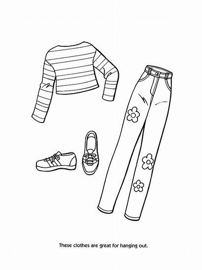 Coloring Pages Clothing Printable Barbie Clothes Sheets