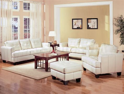 livingroom set samuel white leather 3 pcs living room set sofa loveseat and chair coaster co sofa sets