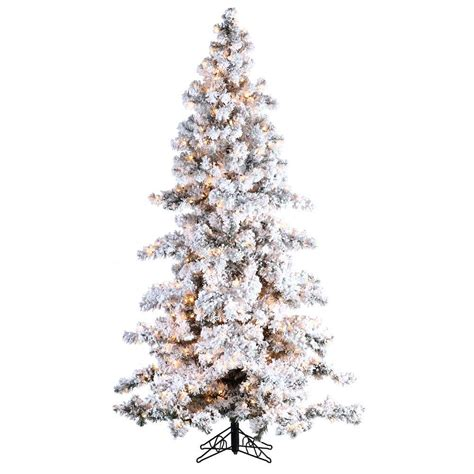 sterling nine foot flocked led trees sterling 7 5 ft pre lit heavy flocked white spruce artificial tree with clear lights