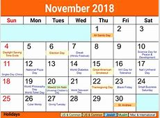 Calendar 2018 November With Holidays – Printable Calendar