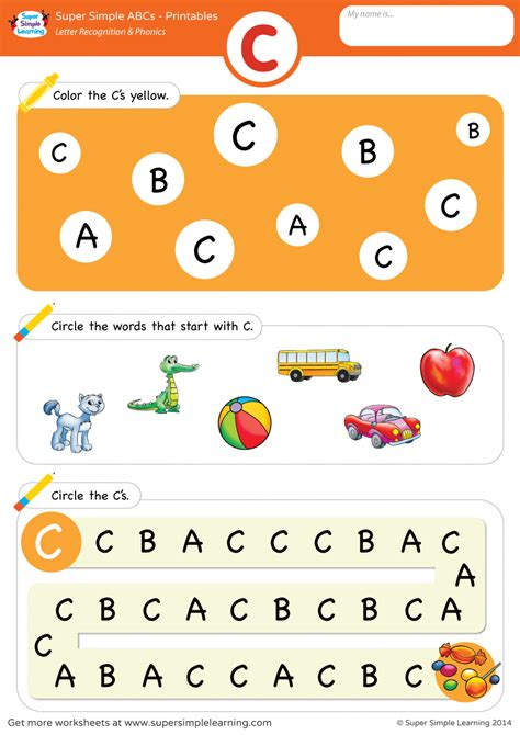 letter recognition phonics worksheet c uppercase
