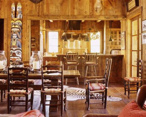 rustic cabin interiors   rustic dining room san francisco