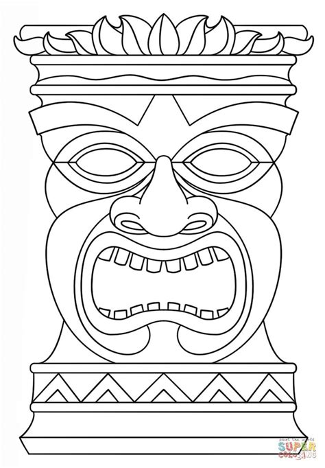 tiki totem templates hawaiian tiki masks coloring pages tiki masks