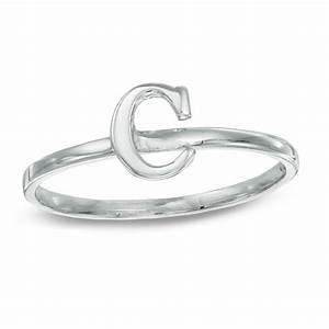 stackable letter quotcquot ring in 10k white gold size 7 With letter c ring