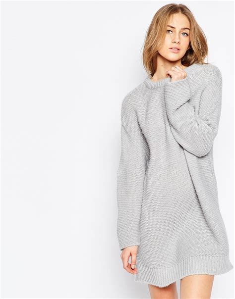 jumper knit dress asos oversized jumper dress in chunky knit in gray lyst