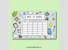 School timetable template with school objects Vector