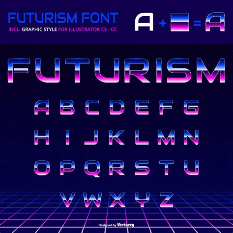 Shiny Alphabet 80s Retro Futurism Graphic Style Vector ...