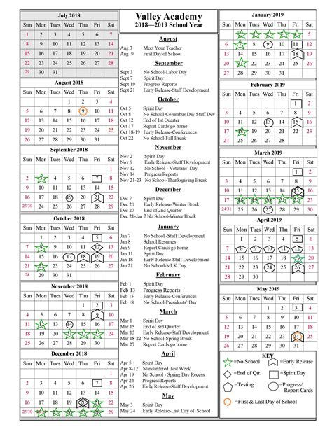 school year calendar valley academy