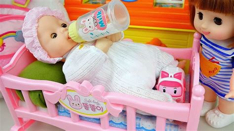 25924 baby doll bed baby doll sleep in bed with pororo tayo poli toys