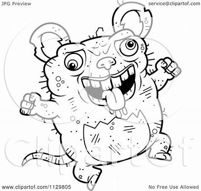Ugly Rat Cartoon Clipart Coloring Outlined Jumping