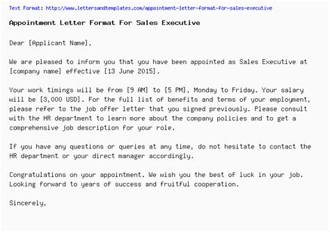 appointment letter format  sales executive