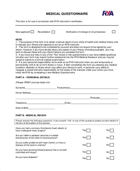 Health Questionnaire Form Template by Health Questionnaire Form Images