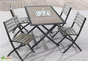 Salon De Jardin Pliant : table jardin pliante bois composite et aluminium 140x80 ~ Dailycaller-alerts.com Idées de Décoration
