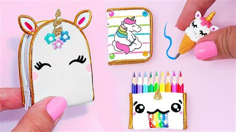 diy miniature unicorn school supplies backpack