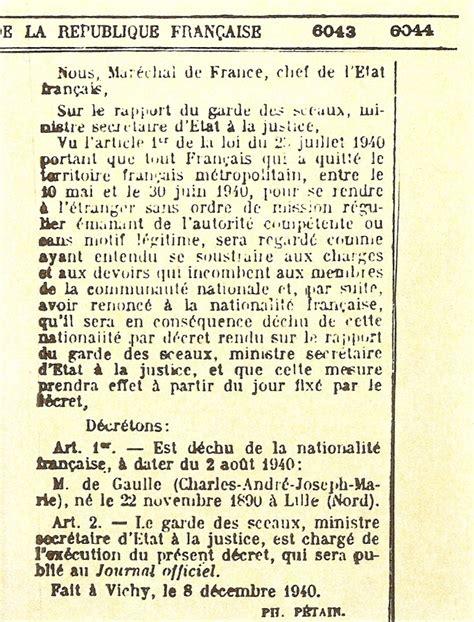bureau de nationalité française dé déchoyant charles de gaulle de la nationalité