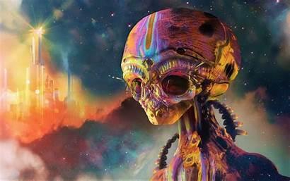 Alien Head Skeleton Psychedelic Colorful Sci Fi