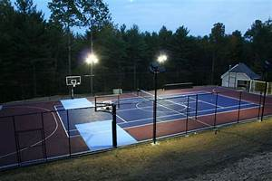 outdoor basketball courts gym flooring backyard With outdoor lighting for home basketball court