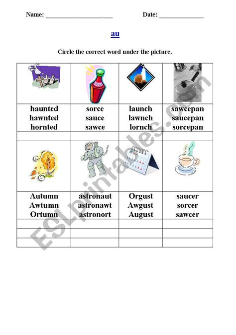 english worksheets phonics au sound
