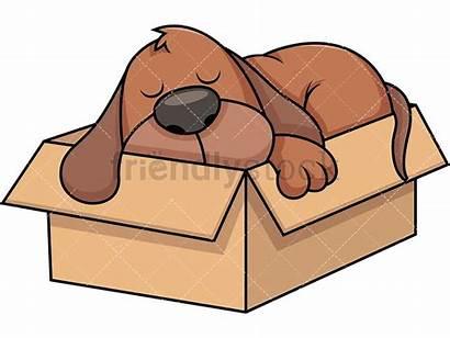 Box Dog Cartoon Clipart Stray Sleeping Napping