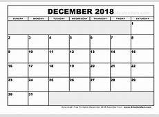 December 2018 Calendar Template yearly printable calendar