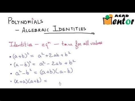 algebraic identities part  polynomials class