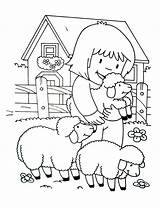 Coloring Farm Simple Children Printable Justcolor sketch template