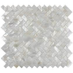 white herringbone mother of pearl shell tile for