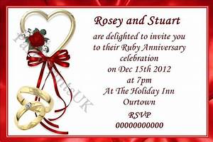 30 personalised ruby wedding invitations envelopes new With ruby wedding invitations templates free