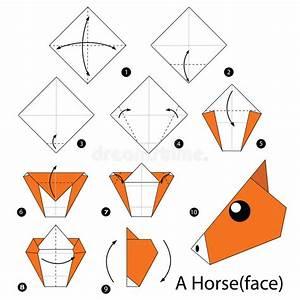 Faire Des Origami : instructions tape par tape comment faire origami un cheval illustration de vecteur ~ Nature-et-papiers.com Idées de Décoration