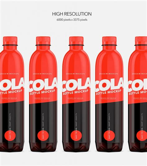 Bottle mockups make the process of presenting and packaging your designs in high quality photorealistic manner possible. Packreate » Cola Bottle Pet - Mockup - 500ml