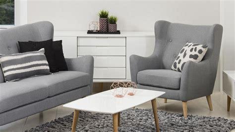 Garnitur Kamma Retro 3-sitzer Sofa Sessel Stoff Hellgrau