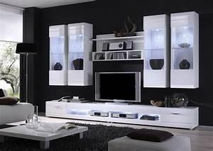 Moderne wohnwand in weiss hochglanz inklusive beleuchtung for Moderne wohnwand hochglanz
