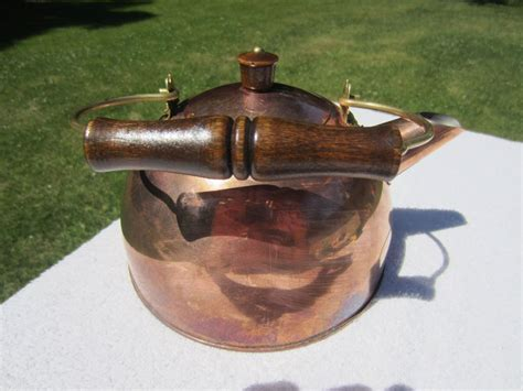 vtg paul revere copper tea kettle pot  wood handle