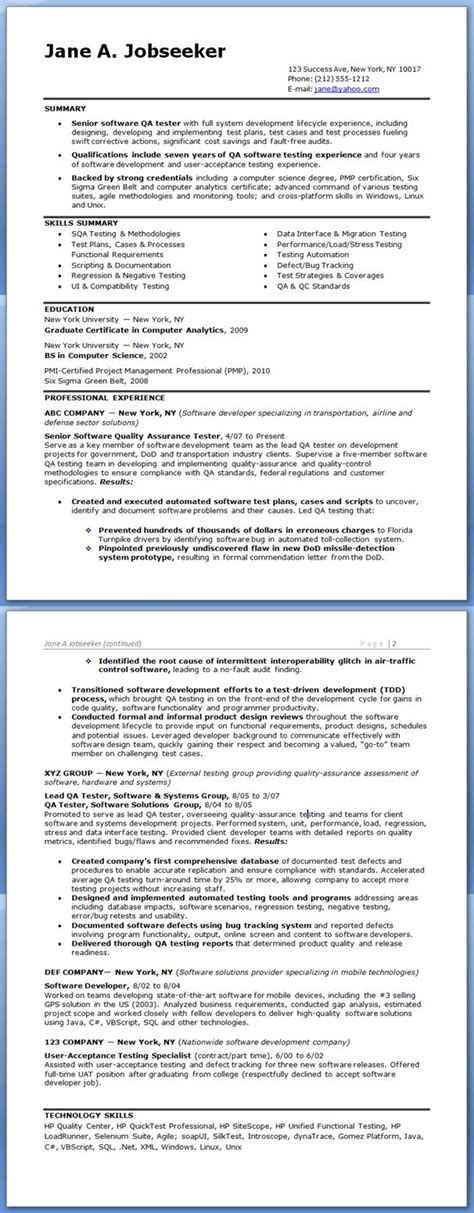 qa software tester resume sle experienced creative