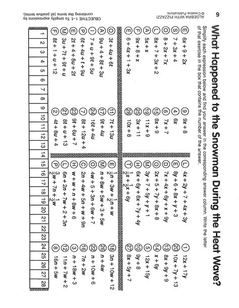 Pre Algebra With Pizzazz Answer Key The Best Worksheets Image Collection  Download And Share