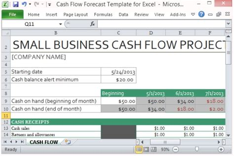 cash flow statement template excel manager