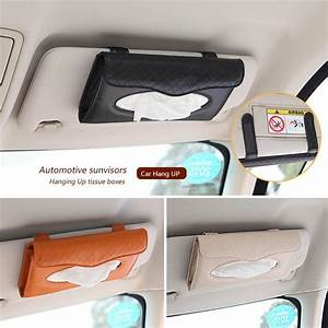 Pu Leather Cover Car Sun Visor Tissue Box Cover Hanging Up
