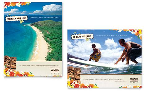 hawaii travel vacation poster template word publisher