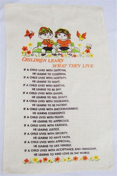 what preschoolers learn vintage linen tea towel wall hanging children learn what 902