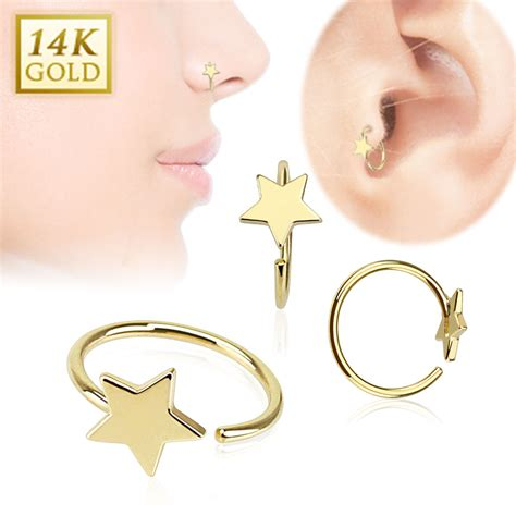 gold hoop ring  nose cartilage helix daith tragus