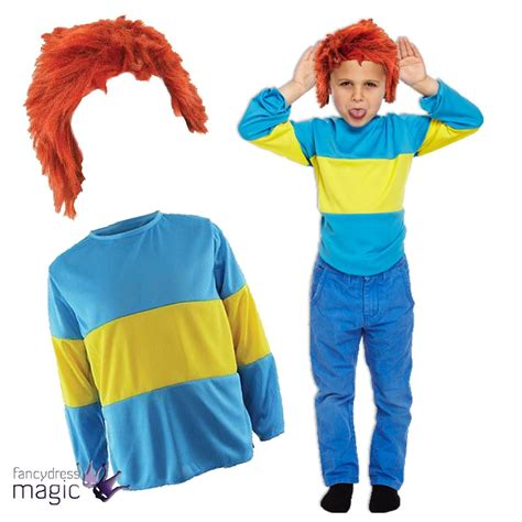 Kids Childs Book Week Blue Yellow Striped Jumper Wig Fancy Dress Outfit Costume | eBay