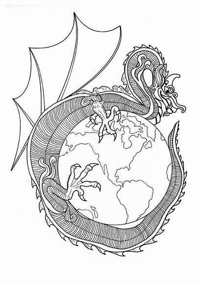 Mandala Dragon Coloring Pages Mandalas Chinese Printable
