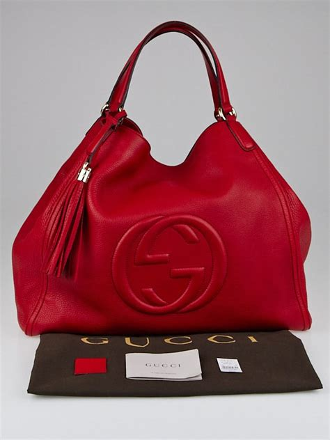gucci red leather soho large tote bag yoogis closet