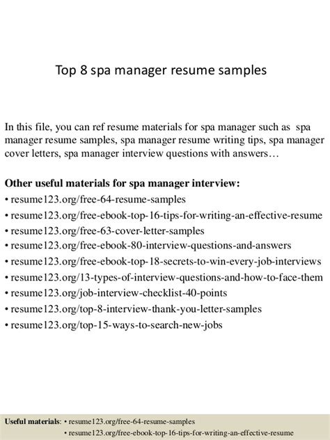 top 8 spa manager resume sles
